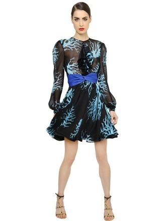 dress chiffon dress chiffon silk coral blue black