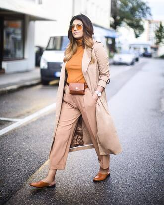 pants tumblr beige beige pants nude pants shoes mules top coat trench coat all nude everything sunglasses