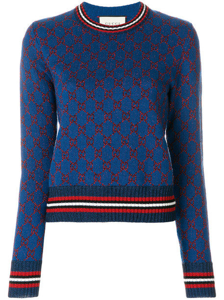 gucci jumper metallic women jacquard blue silk sweater