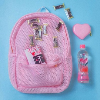 bag backpack see through mesh pastel pink kawaii home accessory