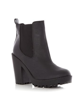 Black Cleated Sole Block Heel Chelsea Boots
