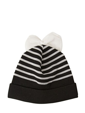 bow hat beanie wool white black