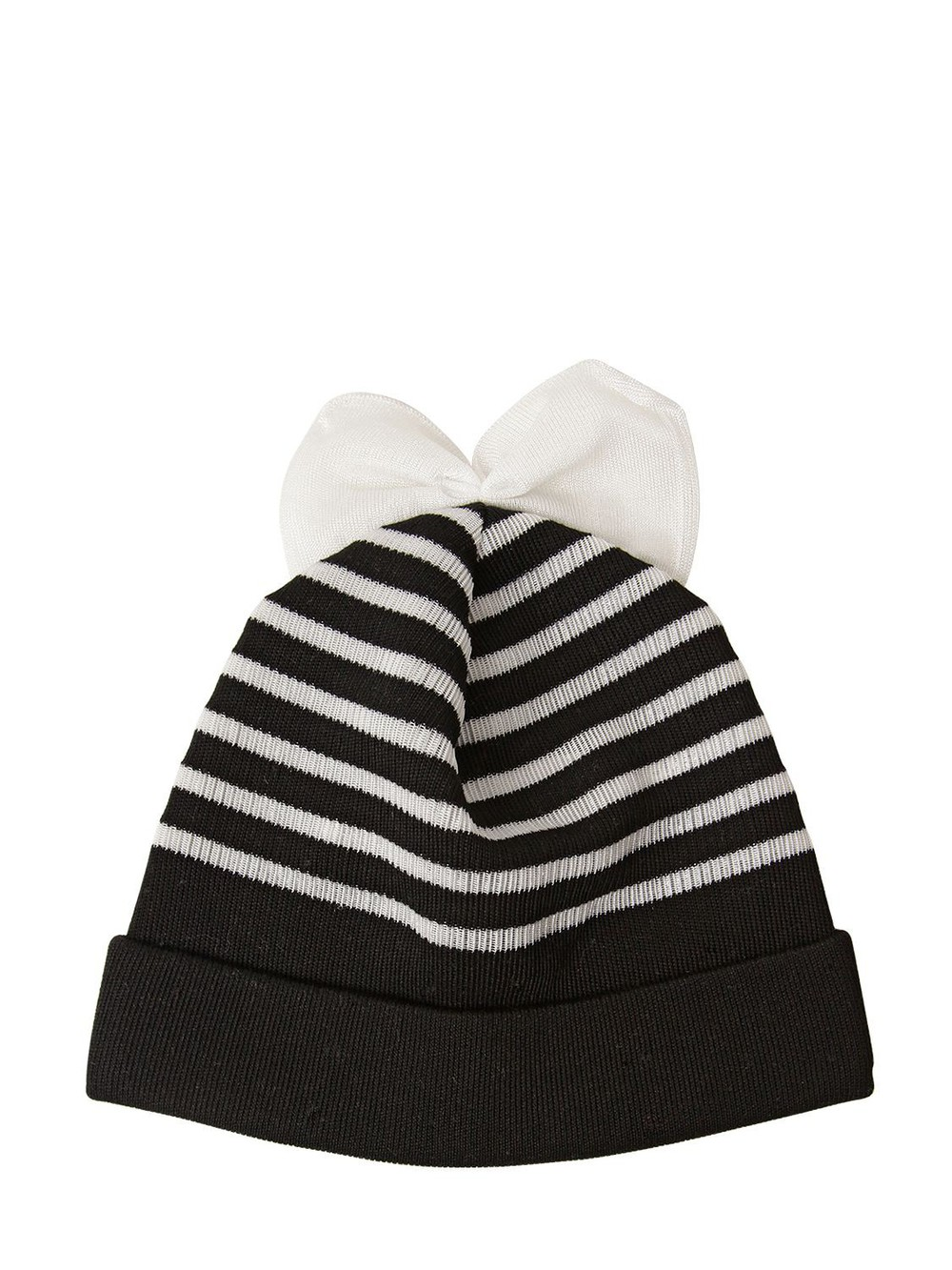 FEDERICA MORETTI Striped Wool Beanie Hat With Bow in black / white