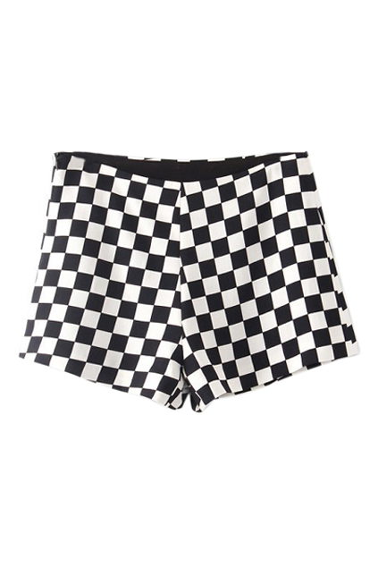 ROMWE | ROMWE Check Print Zippered Slim Shorts, The Latest Street Fashion