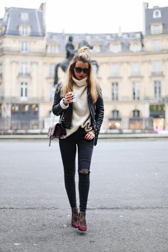caroline louis pardonmyobsession blogger jacket jeans sweater tights shoes bag turtleneck sweater black leather jacket ysl bag ankle boots skinny jeans