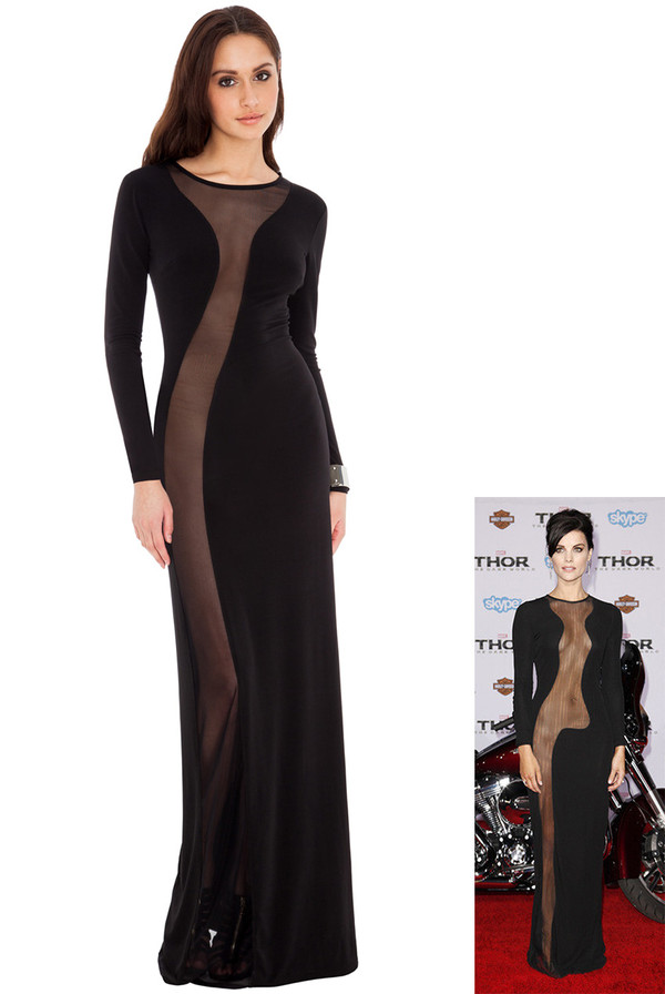 dress celebrity red carpet daring sassy mesh maxi see thru panel