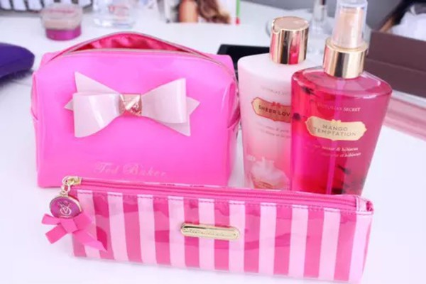 home accessory cute pink girly makeup bag