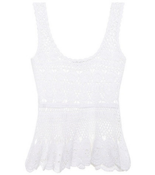 Anna Kosturova Marianne cotton crochet top in white