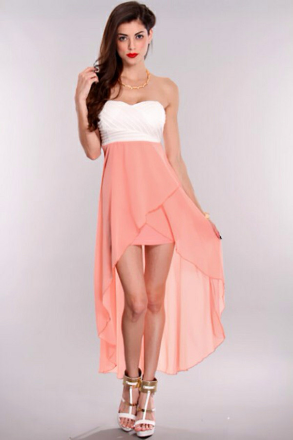 Peach White High Low Hem Strapless Dress @ Amiclubwear sexy dresses ...