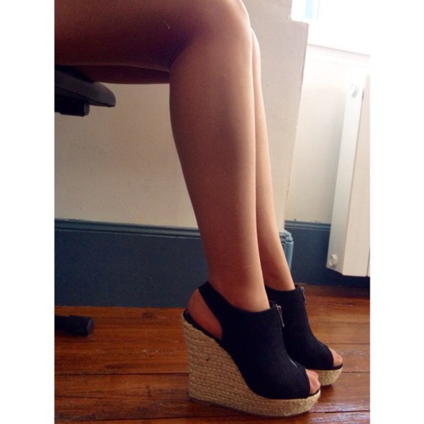 shoes wedgeheels wedge heels shoes black wedges black