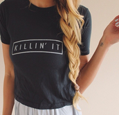 t-shirt,cool,black,killin it,killin shirt,www.ebonylace.net,shirt,graphic tee,tshirt.,girl,swag,fashion,style,ebonylace,ebonylacefashion,klinnin it,blonde hair,ombre,hair,white,pretty,shop,love,heart,black killin it shirt,girly,girly wishlist,rose wholesale,black t-shirt