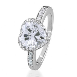 Heart Shaped Cubic Zirconia 925 Sterling Silver Engagement Ring 5ct