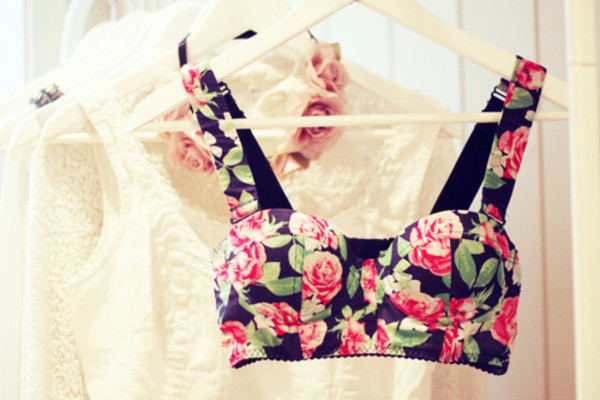 tank top crop tops bustier floral
