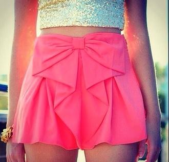 pink shorts skirt cute bows