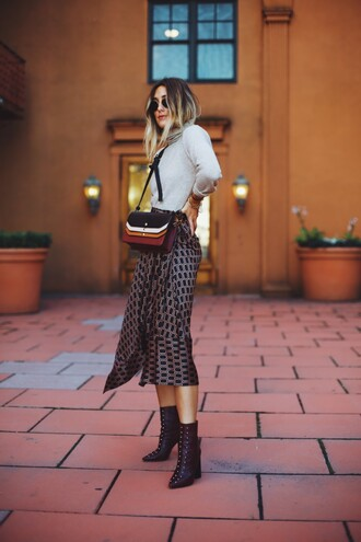 skirt grey top tumblr asymmetrical midi skirt top turtleneck grey turtleneck top boots ankle boots bag crossbody bag