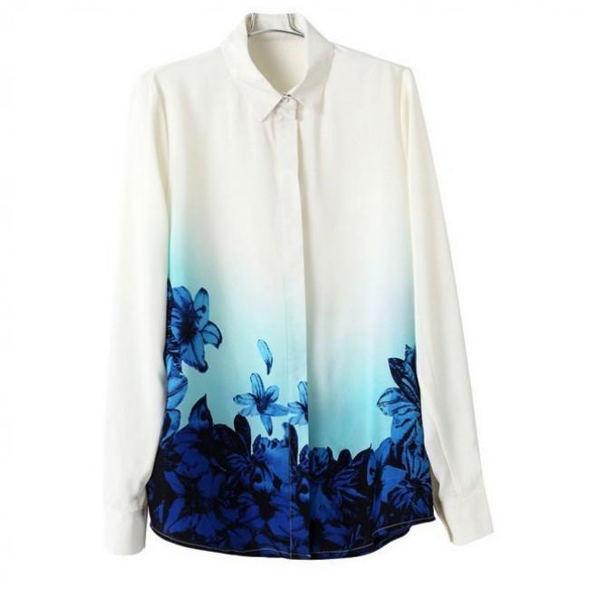 Blue floral gradient print blouse