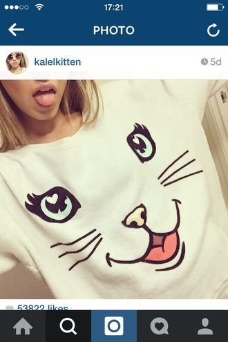 sweater cream cat face kalel cullen