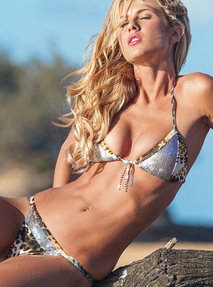 swimwear silver and leopard print jeweled bikini top