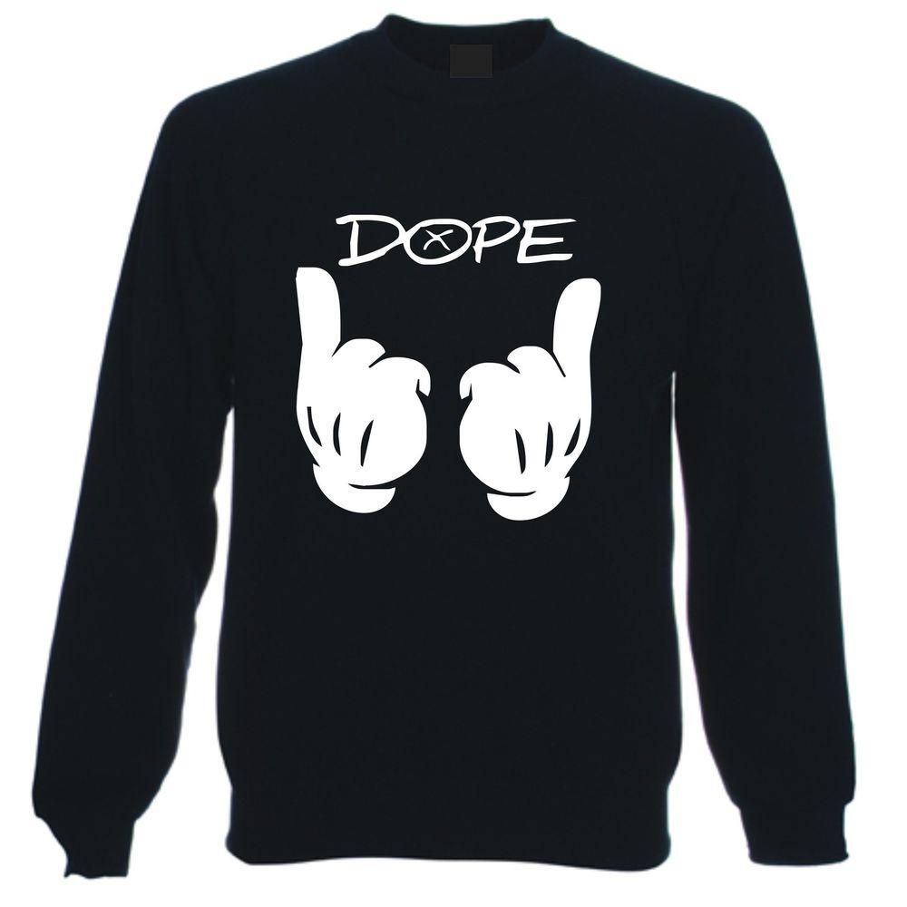 Black DOPE Sweatshirt Sweater Jumper Drake Mac Mickey Miller Mouse Gloves