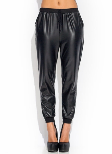 Coated-Drawstring-Joggers BLACK RED - GoJane.com