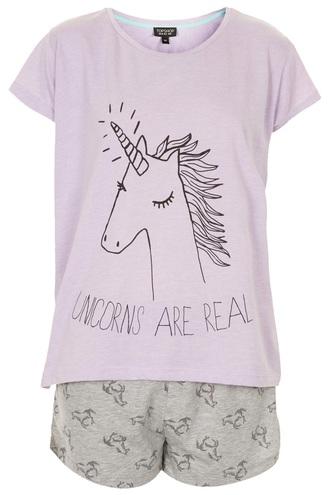 pajamas purple unicorn 2 pieces short sleeve