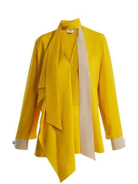 Fendi blouse silk yellow top