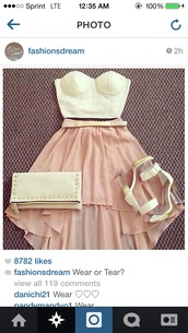 skirt,peach,cream,top,strapless,heels,clutch,strapless top,crystal,bag,shirt,shoes,pumps,hight heels,red sole,shiny,sparkle