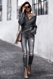 fashionedchic,blogger,sweater,jeans,shoes,bag,sunglasses,shoulder bag,grey sweater,spring outfits,pumps,streetstyle,sweater weather,monochrome outfit