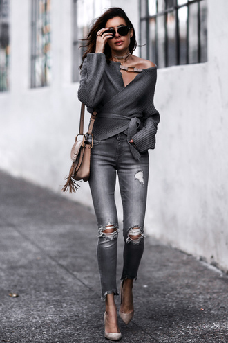 fashionedchic blogger sweater jeans shoes bag sunglasses shoulder bag grey sweater spring outfits pumps streetstyle sweater weather monochrome outfit