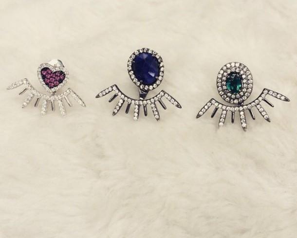 jewels emerald sapphire earring ear jacket help please under rhinestone stone diamond