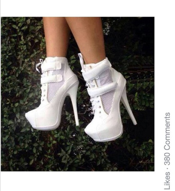 shoes white white high heels high heels platform shoes platform boots platform heels platform shoes nice cute high heels ancle boots boots pretty girly girl acessories trendy w???e me?? heel? boo??e?