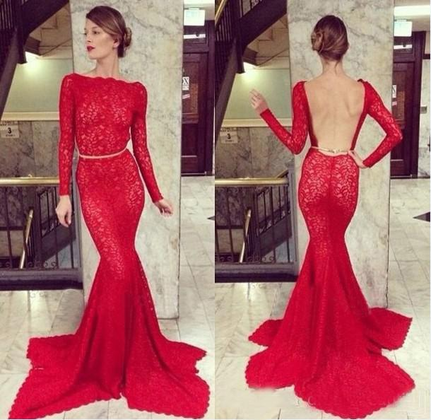 Discount 2014 Sexy Mermaid Prom Dresses Bateau Neck With Full Sleeve Lace Waist Sash Chapel Trailing Evening Party Gown Online with $135.71/Piece | DHgate