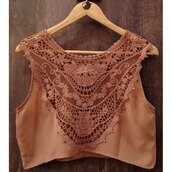 top,brown,summer,spring,cute,fashion,embroidered,crop tops,trendsgal.com