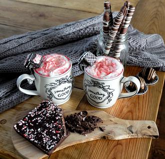 brooklyn blonde blogger mug quote on it mug chocolate holiday season cozy