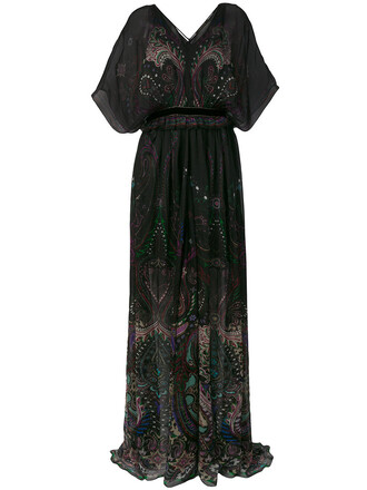 dress maxi dress maxi women black silk paisley