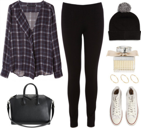 tartan flannel shirt fall outfits beanie bobble hat floaty dark shoes converse bag