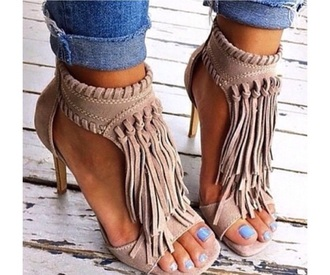 shoes high heels fringes fringe shoes fashion style beige nude brown booties black dress love