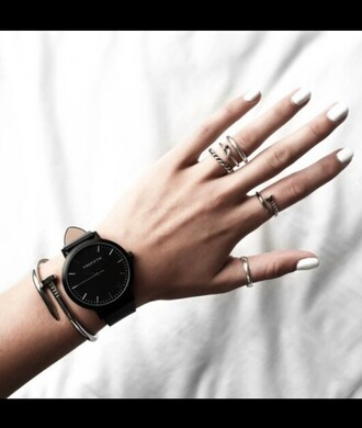 jewels minimalist minimalist jewelry jewelry knuckle ring silver silver ring ring stacking rings stacked ring black white girl style women summer water ocean nature hipster boho bohemian indie ring stack