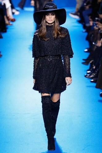 dress boots mini dress all black everything hat elie saab fashion week 2016 paris fashion week 2016