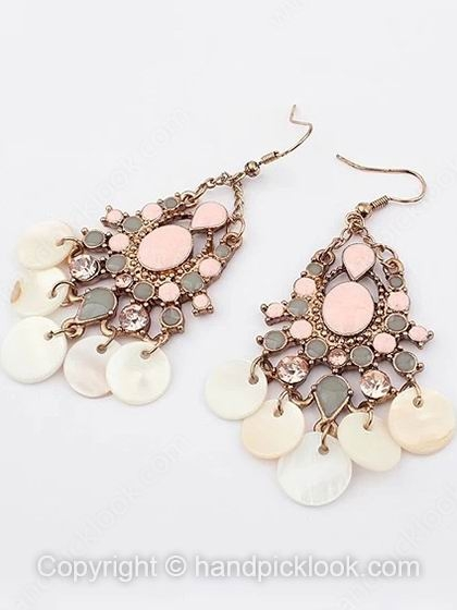 Pink Gemstone Gold Dangle Earrings - HandpickLook.com