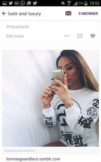 sweater white t-shirt