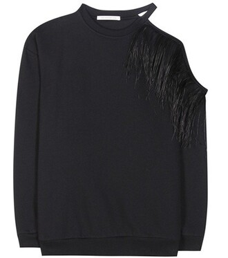 sweatshirt embellished cotton black sweater