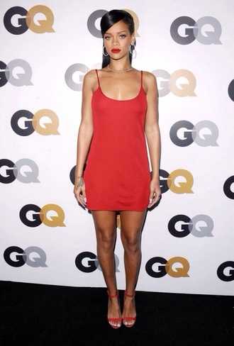dress red rihanna slip dress