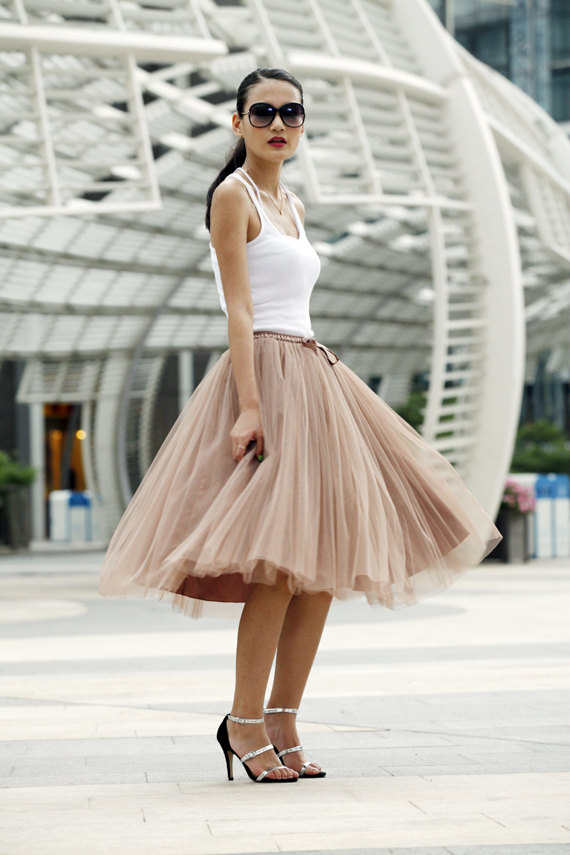 Tulle Skirt Tea length Tutu Skirt Elastic Waist par Sophiaclothing