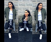 jacket,green,plaid,nike air force,black,jeans,blouse,slayyy,bomber jacket,army green