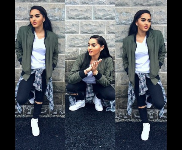 jacket green plaid nike air force black jeans blouse slayyy bomber jacket army green