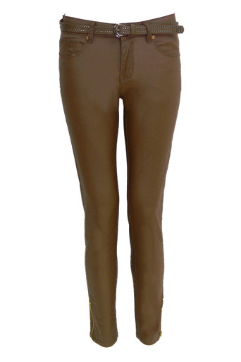 Varana Wax Effect Skinny Jeans in Camel - Pop Couture