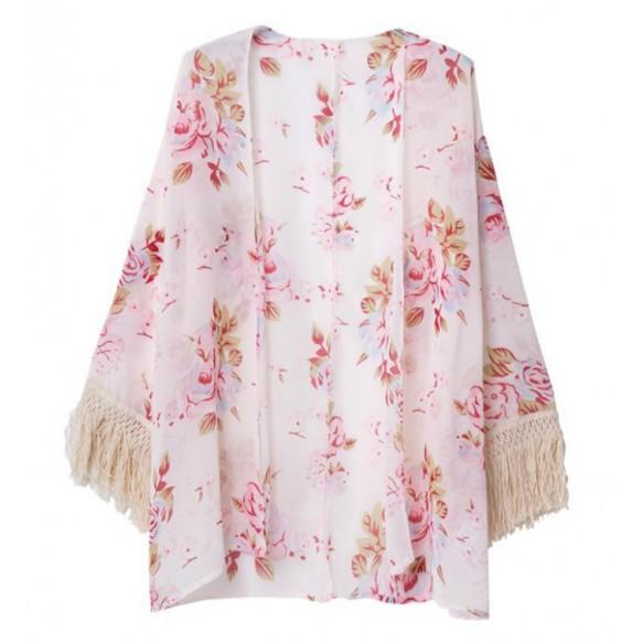 Rose Print Kimono With Fringe Sleeves