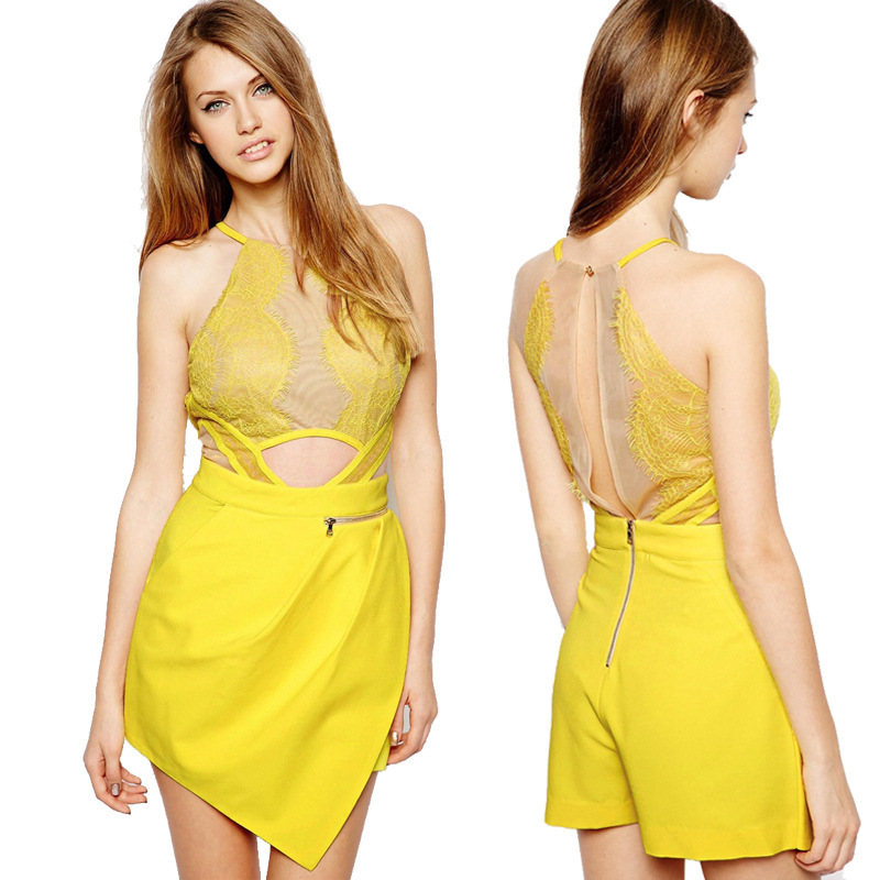 Fashion cute yellow jumpsuit