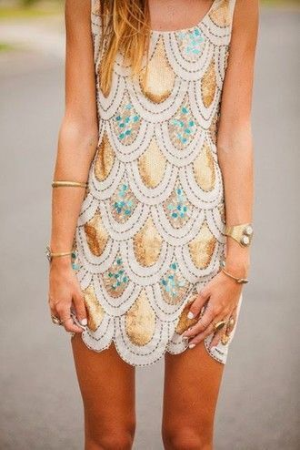 dress glitter dress gold sequins short dress turquoise fish scales